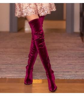 Burgundy Velvet Boots