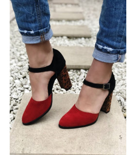 Pantofi Red Leopard Mix