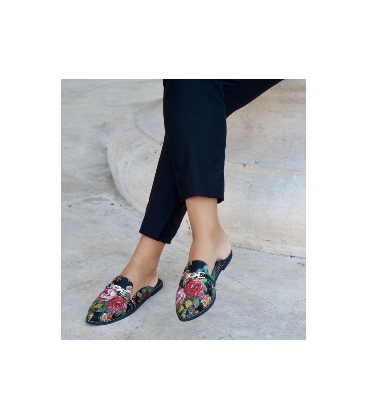 fc0a37c06a8 Wild Roses Mules. Silver Baroque Shoes