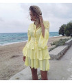 Yellow  Chic Ruffle  Dress