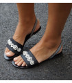 Silver Flowers Sandals