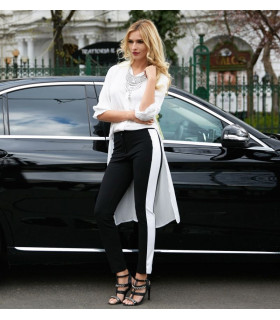 Feather Black &amp White Pants