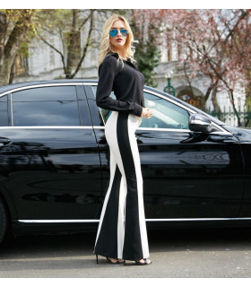 Black &amp White Flared Pants