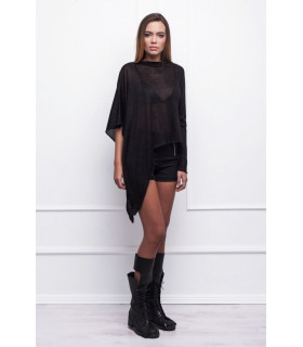 Black Asymmetric Blouse