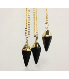 Black Onix Pyramid Necklace