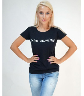 &quot Stai Cuminte &quot Black T-shirt