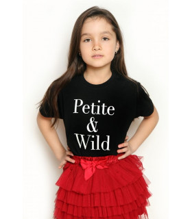 &quotPetite and Wild&quot T-shirt Kids Black