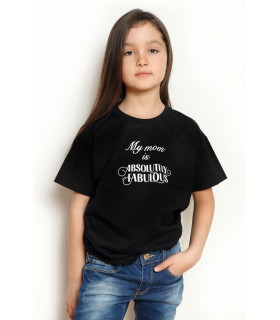 """Tricou """"My Mom is Absolutely Fabulous"""" Kids Black"""