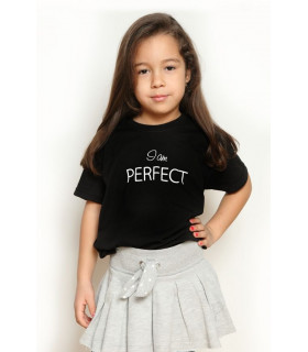 "Tricou ""I Am Perfect "" Kids Black"