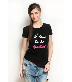 &quot I love to be spoiled &quot T-shirt Black