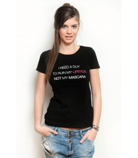 &quotMy lipstick&quot T-shirt Black