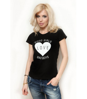 "Tricou ""Good girls love bad boys "" Black"
