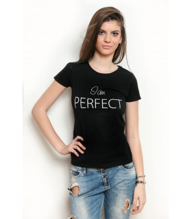 "Tricou ""I am PERFECT"" Black"