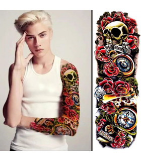 Skulls&ampRoses Arm Tattoo